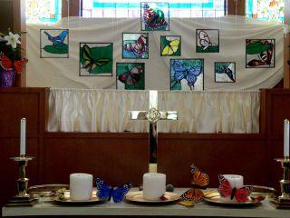 Stainedglassbutterflies&altar